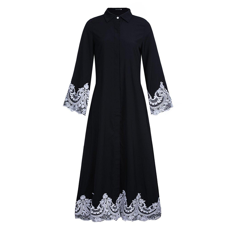 ad8f0ae056a Fancyqube Women s Elegant Muslim Kaftan Dubai Islamic Abayas Long Sleeve A  Line Maxi Dress Fancyqube