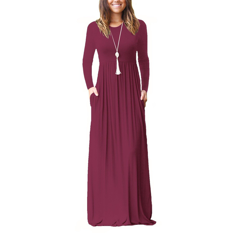 LHS Charmer Women Long Sleeve Loose Plain Maxi Dresses ...